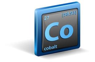 grundämne av kobolt. kemisk symbol med atomnummer och atommassa.