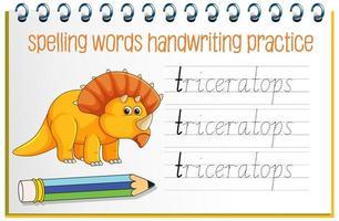 stavning ord dinosaurie handskrift övning kalkylblad