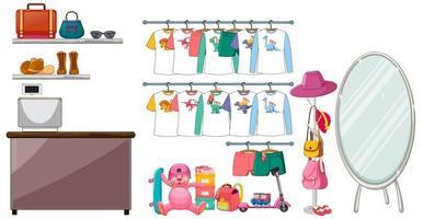 Kinderkleidung hängt am Kleiderständer mit Zubehör auf weißem Hintergrund vektor