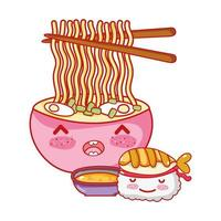 Kawaii Sushi Ramen Suppe und Essen japanische Cartoon, Sushi und Brötchen