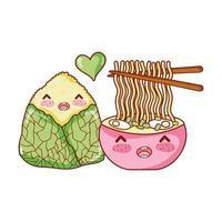 Kawaii Ramen Suppe und Reis Essen japanische Cartoon, Sushi und Brötchen