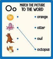 matcha bilden till ordet arbetsblad för barn