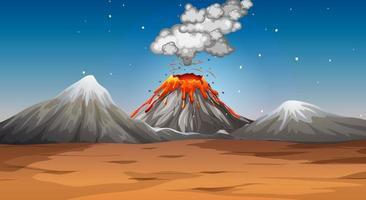 vulkanutbrott i ökenplats på natten vektor