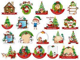 uppsättning tom julkortsmall isolerad på vit bakgrund vektor