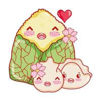 Kawaii Reiskuchen Knödel und Keks mit Blumenfutter japanischen Cartoon, Sushi und Brötchen