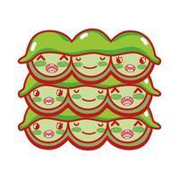 kawaii von Erbsen essen japanische Karikatur, Sushi und Brötchen