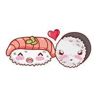 kawaii sushi fisk och rulle ris älskar mat japansk tecknad film, sushi och rullar