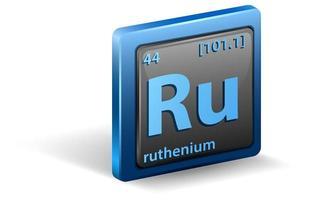 rutenium kemiskt element. kemisk symbol med atomnummer och atommassa.