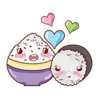 kawaii Schüssel mit Reis und Brötchen lieben Essen japanischer Cartoon, Sushi und Brötchen