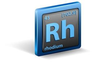 rodium kemiskt element. kemisk symbol med atomnummer och atommassa.