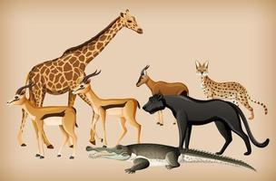 Gruppe von Wildtieren auf Hintergrund