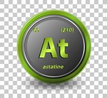 astatisk kemiskt element. kemisk symbol med atomnummer och atommassa.