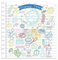 uppsättning vetenskap element klotter på papper vektor