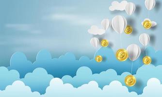 Papierkunst von Luftballons als Wolken auf blauem Himmel Banner mit Bitcoins