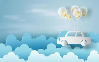 Papierkunst von Luftballons als Wolken auf blauem Himmelfahne mit Auto