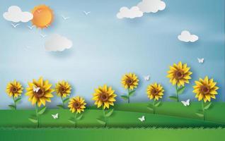 Sonnenblumenblütenfarmlandschaft des Sommersaisonfahnenhintergrunds vektor