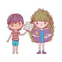 Junge mit offenem Buch und Mädchen, die Fantasiebuch isoliertes Design lesen vektor