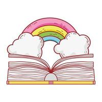 offenes Buch Regenbogen Fantasie Literatur Cartoon isoliert Design