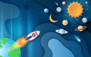 Papierkunst Banner mit Raketenstart und Weltraumgalaxie vektor