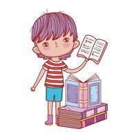kleiner Junge, der offenes Buch gestapelte Bücher isoliertes Design hält