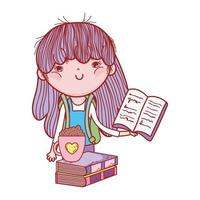 liten flicka håller bok och choklad kopp på böcker