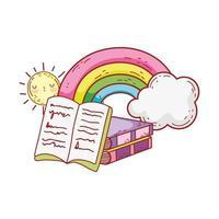 öppen bok staplade böcker regnbåge moln solen tecknad