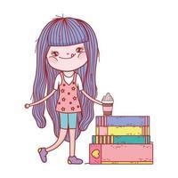 liten flicka med smoothie och staplade böcker isolerad design