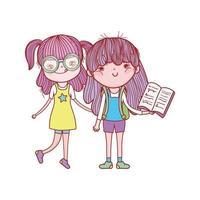 süßes Mädchen mit Brille und Mädchen mit offenem Buch isolierte Ikone
