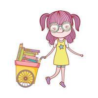 süßes Mädchen und Wagen mit vielen Büchern isolierte Ikone
