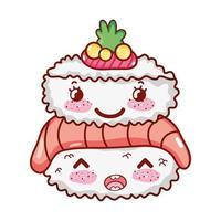 kawaii Reis Rollfisch Sushi Wasabi Essen japanische Cartoon, Sushi und Brötchen vektor
