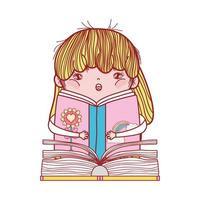 kleines Mädchen, das Buchpiratenabenteuerkarikatur-isoliertes Design liest