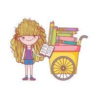 süßes Mädchen, das Buch und Wagen mit vielen Büchern liest