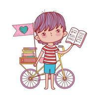 niedlicher Junge, der Buch mit Fahrrad gestapelte Bücherfahne isoliertes Design liest