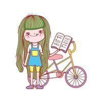 söt flicka läsebok med cykel isolerad design