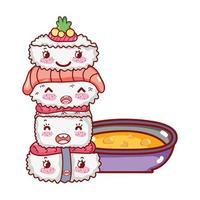 gestapelte Sushi Wasabi Fisch Lachs und Suppe Kawaii Essen japanische Cartoon, Sushi und Brötchen