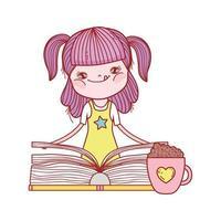 kleines Mädchen, das Buch und Schokoladenbecher lokalisiertes Design hält