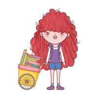 söt tjej med vagn fylld av böcker tecknad isolerad design