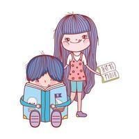 söt liten pojke sitter läsning bok pirater och flicka med öppen bok