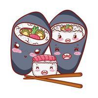 Kawaii Sushi und Temaki Sticks Essen japanischen Cartoon, Sushi und Brötchen
