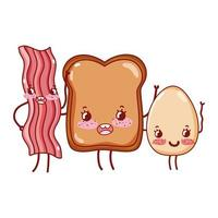Frühstück süßes Speckbrot und Spiegelei kawaii Cartoon