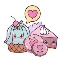 süßes Essen Cupcake Kuchen und Kekse süßes Dessert Gebäck Cartoon isoliert Design