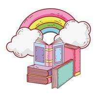 öppen bok i staplade böcker rainbow sun cartoon