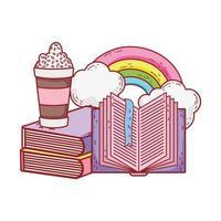 frappe öppen bok staplade böcker regnbågens moln tecknad