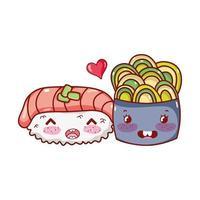 kawaii sushi lachs wasabi und salat essen japanischer cartoon, sushi und brötchen vektor