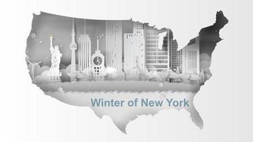 Papierkunst-Banner mit Skyline von New York City und USA-Karte vektor