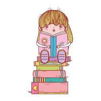 söt flicka med smoothie och staplade böcker isolerad design