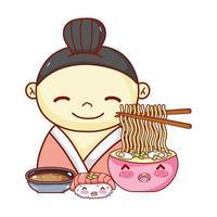 Geisha mit Nudeln Suppe Sushi und Sauce Essen japanische Cartoon, Sushi und Brötchen