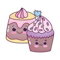 süßes Essen Cupcake und Gelee süßes Dessert Gebäck Cartoon isoliert Design