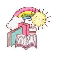 offenes Buch in gestapelten Büchern Regenbogen Sonne Cartoon