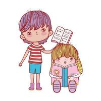 pojke med öppen bok och flickasammanträde som läser fantasibok